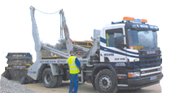 Skip Hire Lorry - offloading a skip